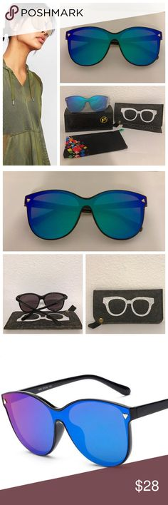 'Iris' Mirrored Lens Cat Eye Oversized Sunnies 100% Mirrored lens sunglasses with UV400 (UVA & UVB) protection. Five color combos available. This specific listing is for the Iris style - Blue, Purple & Green Lens with a Black Frame. Comes new in retail box with drawstring pouch & instruction manual. Complimentary felt carrying pouch included, padded for excellent protection. Measurements: Lens 61mm x 55mm. Bridge 14mm. Frame 144mm x 141mm. Note: Model Stock Pic reflects style not color…