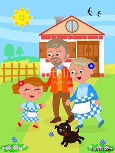 """Scarica il vettoriale Royalty Free  """"Wizard of Oz Happy ending the little girl back home with grandparents"""" creato da carlacastagno al miglior prezzo su Fotolia . Sfoglia la nostra banca di immagini online per trovare il vettoriale perfetto per i tuoi progetti di marketing a prezzi imbattibili!"""