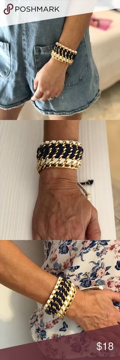 Handmade blue, white and gold bracelet This beautiful handmade bracelet from Venezuela is an adjustable piece. Adds a touch of flare to an every day outfit handmade Jewelry Bracelets