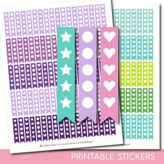 Heart stickers, Round stickers, Star stickers, Heart checklist stickers, Round…