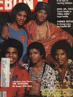 """The Jacksons: No longer little boys."" Ebony Magazine featuring Marlon Jackson, Michael Jackson, Tito Jackson, Randy Jackson, and Jackie Jackie. Randy Jackson, Tito Jackson, The Jackson Five, Jackson Family, Jet Magazine, Black Magazine, Time Magazine, Paris Jackson, Ebony Magazine Cover"
