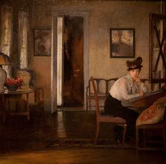 Girl Writing ~ Edmund Tarbell (1862-1938)