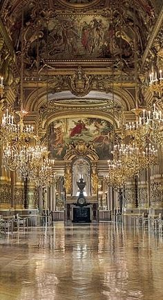 Chandeliers in the Grand Foyer, Le Palais Garnier, Paris Beautiful Architecture, Beautiful Buildings, Beautiful Places, Paris Architecture, Places To Travel, Places To See, Chateau Versailles, Palace Of Versailles, Image Paris