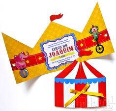 Convite tenda com tema de Circo Circus Party Invitations, Circus Theme Party, Carnival Birthday Parties, Circus Birthday, Birthday Decorations, Birthday Party Themes, Boy Birthday, Birthday Ideas, Circo Do Mickey