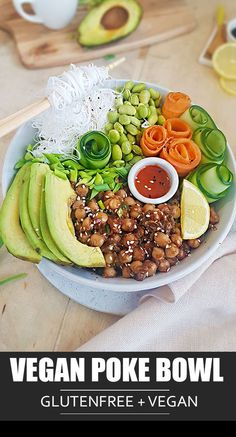 Vegan Poke Bowl features chickpeas cooked in delicious sriracha and tamari sauce marinade and paired Vegan Entree Recipes, Delicious Vegan Recipes, Vegan Dinners, Seafood Recipes, Beef Recipes, Whole Food Recipes, Kid Recipes, Picnic Recipes, Weeknight Dinners