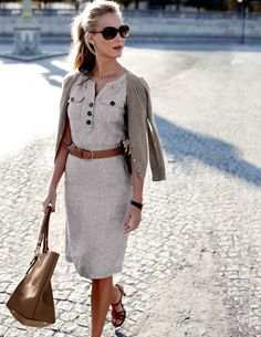 love the neutrals, belt, sweater, dress, shoes...