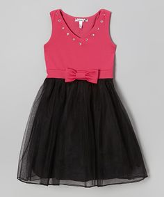 Take a look at this Black & Fuchsia Bow Tulle Dress on zulily today!  $26.99, girls up to 14
