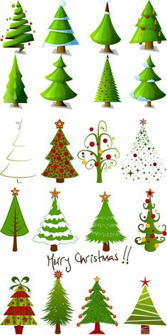 2 Sets of 20 vector cartoon Christmas tree designs in different styles for your Xmas logo templates, decorations, cards, invitations, banners and other festiv Cartoon Christmas Tree, Christmas Rock, Christmas Canvas, Christmas Tree Design, Christmas Drawing, Christmas Paintings, Christmas Projects, All Things Christmas, Winter Christmas