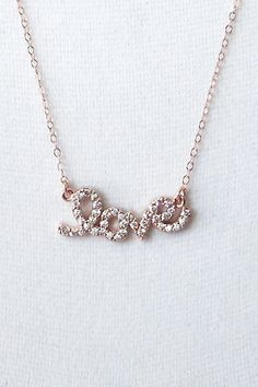 Rose Gold Cubic Zirconia Love necklace simple