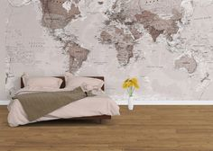 Neutral World Map Wallpaper BELLA