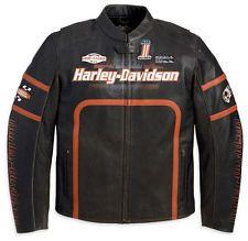 Harley Davidson Men HALF MILE Racing #1 Perforated Leather Jacket 2XL 97074-11VM
