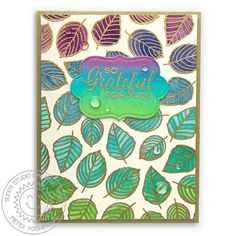 """Sunny Studio Stamps: Elegant Leaves Gold Embossed Watercolor Leaf Background """"So Grateful For You"""" Card (using label from Sliding Window Dies) Watercolor Leaves, Watercolor Cards, Gold Watercolor, Leaf Outline, Sunnies Studios, Pastel Paper, Leaf Background, Fall Projects, Crystal Shop"""