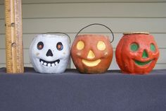 3 Paper Mache Jack-O-Lantern Pumpkins Vintage Halloween ~Tiny~ Candy Containers