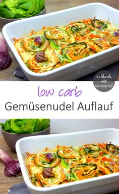 low carb vegetable noodle casserole- low carb Gemüsenudel-Auflauf low carb vegetable noodle casserole – slim with mind - Crock Pot Recipes, Vegetable Recipes, Veggie Food, Healthy Dinner Recipes, Diet Recipes, Vegetarian Recipes, Vegan Meals, Yummy Recipes, Cake Recipes