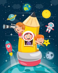 Cute children playing at pencil house Pr. Drawing For Kids, Art For Kids, School Murals, School Painting, Kids Vector, Christmas Drawing, Kindergarten Coloring Pages, School Decorations, Child Day