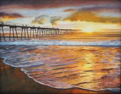 The Pier at Sunset -  Oil painting by Sue Birkenshaw   ---  #sunset #beach #pier #painting #art