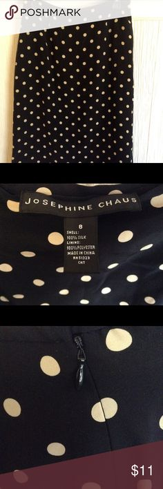 Josephine Chaus Silk Skirt Size 8 Machine Wash A very nice Black and Tan polkadot skirt from Josephine Chaus. This skirt is women's size 8. Silk shell with polyester lining that is machine washable! Very good used condition. Josephine Chaus Skirts