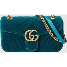 Gucci Gg Marmont Velvet Shoulder Bag (10.655 DKK) ❤ liked on Polyvore featuring bags, handbags, shoulder bags, gucci, bolsas, petrol blue, women, flap shoulder bag, shoulder hand bags and gucci purse