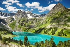 Lake in the Altai Mountains, Siberia, Russia.