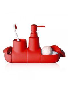 Submarino Bathroom Accessory Set - Red by SELETTI