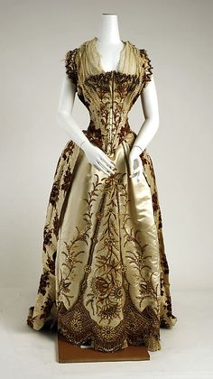 French silk evening gown, 1887