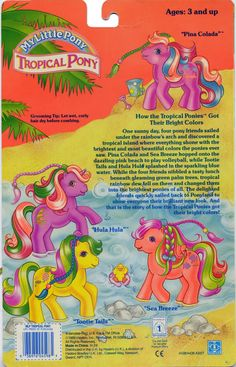 Tropical Ponies backcard  Have: Pina Colada (baby pony)