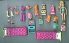 Polly Pocket & Hotel Holiday With Accessories - 37 Pieces #Mattel #HousesFurniture