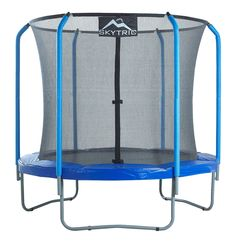SKYTRIC 8 FT. Trampoline with Top Ring Enclosure System equipped with the EASY ASSEMBLE FEATURE