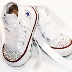 Infant, Toddler Baby Girl High Top White Converse All Star Chuck Taylor's With White Ribbon Laces & Swarovski Crystal Rhinestones