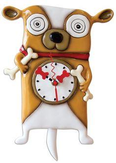 Allen Designs Clock Roofus Hand Painted Resin Art Wall Clock With Pendulum Clock Art, Wall Clocks, Cuckoo Clocks, Novelty Clocks, Studios, Pendulum Wall Clock, Clocks For Sale, Design Studio, Happy Dogs