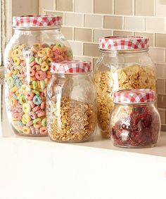 Look at this #zulilyfind! Red Gingham Canister Set by home basics #zulilyfinds