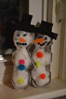 Some great winter themed art and craft activities including this cute egg carton snowmen        Materials:  Egg cartons  Cotton balls  Construction paper or Craft foam  Googly Eyes  Pom-poms or other embellishments    1. Cut one egg carton into four pieces - each piece with 3 cups. Trim down the sides.    2. Apply glue to the inside of each section of the carton and press in cotton balls.    3. Owl used a hole punch to make the dots for the mouths. ( I've noticed his hand stre