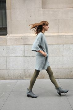 love this. i'd wear different tights. but the sweater dress is awesome.