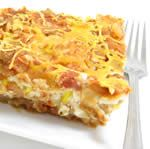 Skinny Lasagna Ole - Mexican layered casserole is loaded with lean protein, low in fat and easy to prepare.