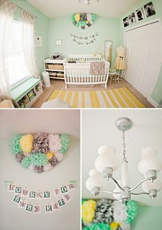 Mint Green and Yellow Nursery. Like the color combo. Love the shelf seat under the window. Love the pics above the closet too. Have that same area. Maybe a phot of each family member up there?                                                                                                                                                                                 Mehr