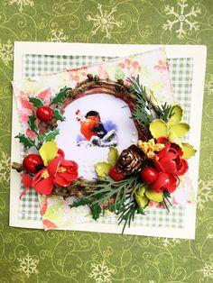 Kartka swiateczna z wiankiem Boże Narodzenie Christmas cards by KastelOfArt