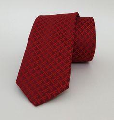 Red Striped Mens Tie 6 cm (2,36 #handmadeatamazon #nazodesign