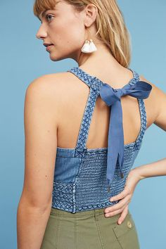 Slide View: 4: Braided Cropped Halter Top