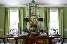 Dining Room: The Pink Pagoda- On Symmetry Green Dining Room, Dining Room Colors, Green Rooms, Lime Green Curtains, Beautiful Dining Rooms, Dining Room Inspiration, Traditional Decor, Beautiful Interiors, Interior Design