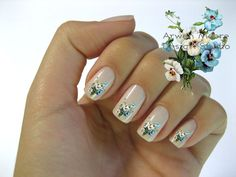 Very Chic Klein Blue White Boutique Roses Nail Art by the4thmuse