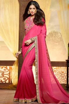 Pink Chiffon Saree with Banglori Silk Blouse Online  http://www.andaazfashion.co.uk/womens/sarees