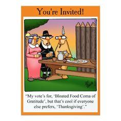 "Thanksgiving Humor ""Food Coma"" Invitations"