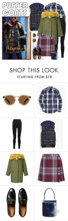 """""""plaid and puffers"""" by restylingbloggers ❤ liked on Polyvore featuring Illesteva, J.Crew, SPANX, Army by Yves Solomon, Gucci and Staud"""
