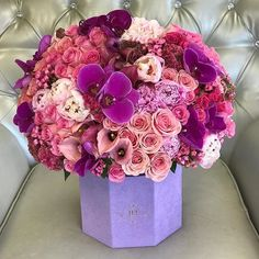 All the right colors in the suede lavender hexagon box