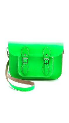 Cambridge Satchel Fluoro Satchel in neon green. I just bought this. Not something I would normally be into, but I surprisingly fell in love with it. Since I have so many neutrals and classic pieces in my wardrobe, I can get away with a really loud bag ;)