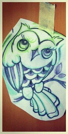 Coloful owl drawing
