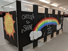Inspiration Stalls - Girls School Bathroom Stall Art Makeover and Positive Messages Rainbow in Someone Else's Cloud, Have Courage, Choose to Shine, Scatter Sunshine
