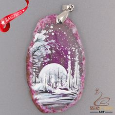 FASHION NECKLACE HAND PAINTED SCENERY GEMSTONE PENDANT BEAD ZL8012783 #ZL #PENDANT