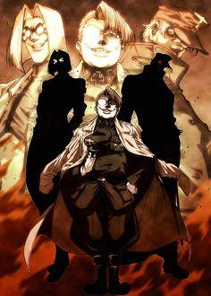 Major (SS-Sturmbannführer), Hakase (The Doctor), Taii (Hans Gunsche, Wolfman), Hellsing Ultimate OVA.