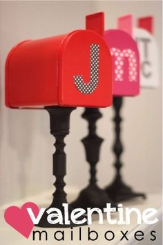 DIY Valentine's Mailboxes- They sell these little tin mailboxes at Target for 1.00!! Paint a candle holder,glue together and decorate! Entire project cost is under 4.00 as long as you have a glue gun already.